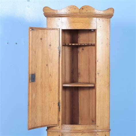 Antique Pine Bowed Front Narrow Corner Cabinet From Narrow Corner Cabinet