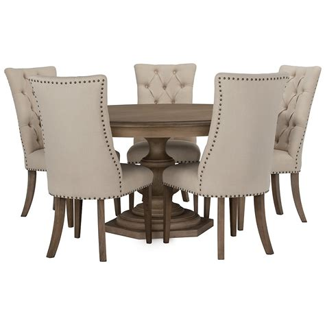 dining room set with upholstered chairs city furniture haddie light tone round table 4