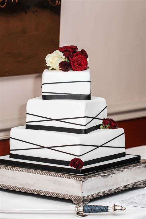 Square Ribbon 3 tier square black ribbon wedding cake weddings