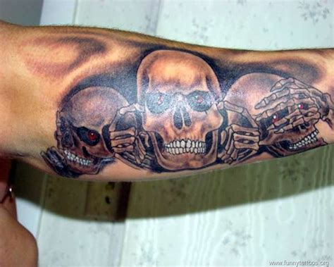 hear no evil tattoos hear see speak no evil skulls arm designs