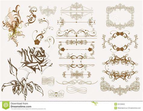 antique design vector set of calligraphic decorative elements and street lights vector illustration