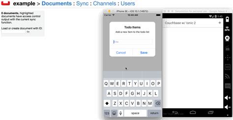 ionic v2 tutorial data synchronization with couchbase in ionic 2 hybrid
