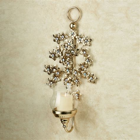 Metal Wall Sconces Jeweled Blooms Floral Metal Wall Sconce