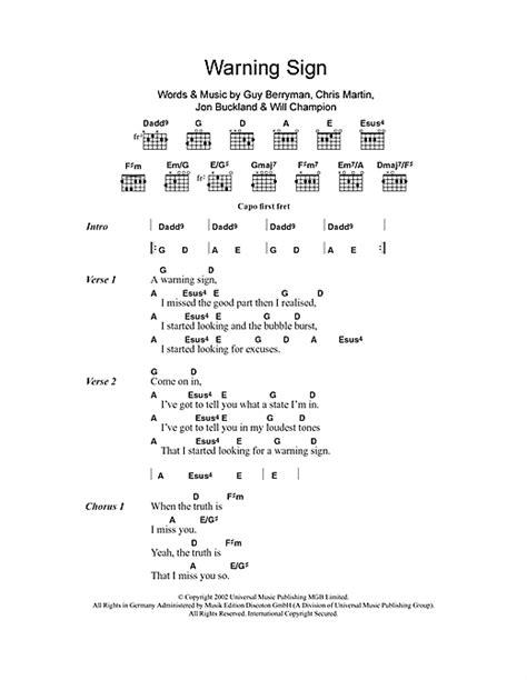 coldplay warning sign lyrics warning sign sheet music by coldplay lyrics chords