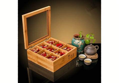 Bamboo Storage Box Besar bamboo tea bag storage box 9 compartments yi bamboo bamboo products