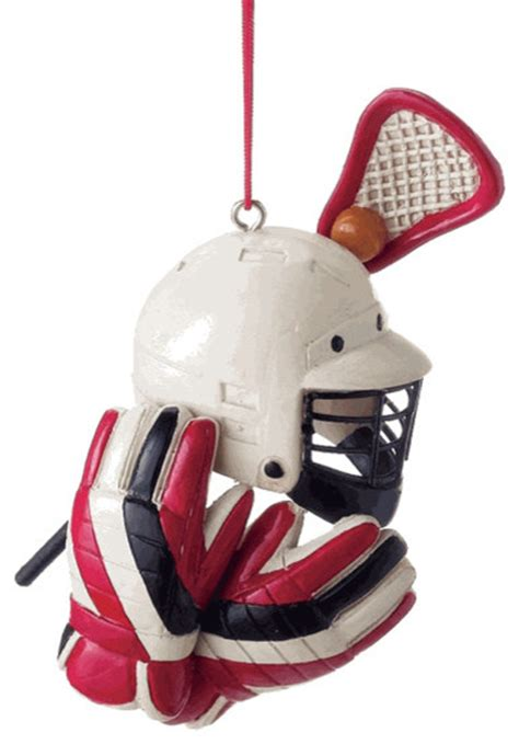 lacrosse helmet stick christmas tree ornament sports