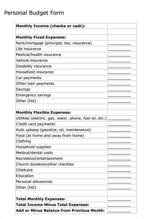 personal templates personal budget sle 10 documents in pdf word excel