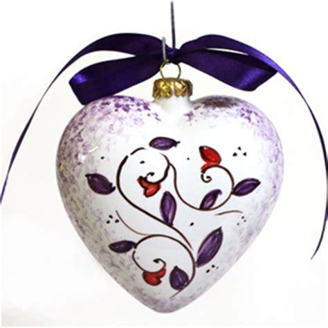 fiore a palla viola palla di natale a cuore ceramica decorata a mano