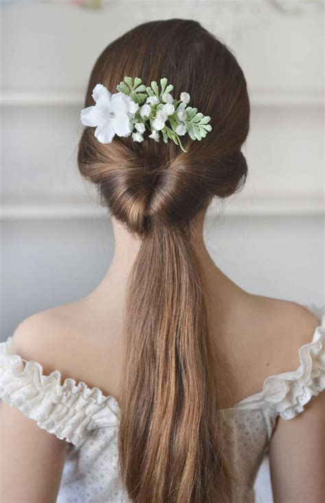 Wedding Hairstyles With Gypsophila by White Bridal Comb Flowers Gypsophila Back White
