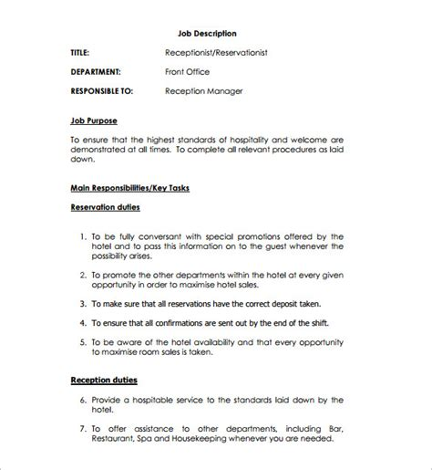 receptionist description template 9 free word pdf