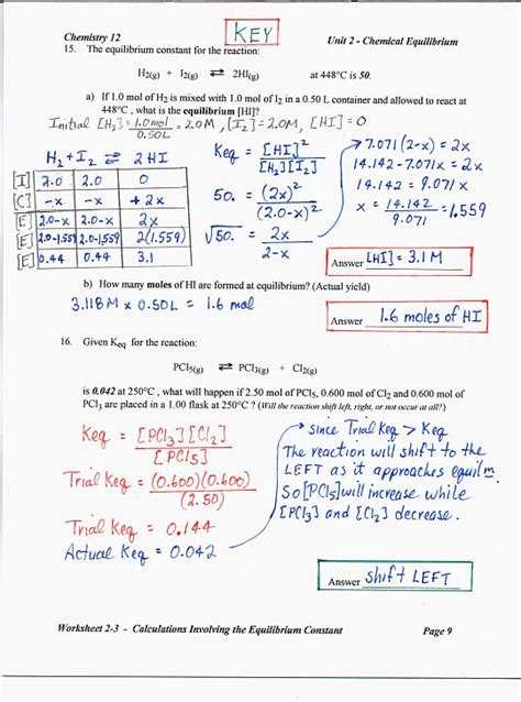Chemistry Unit 5 Worksheet 2 Answer Key by Coursepage