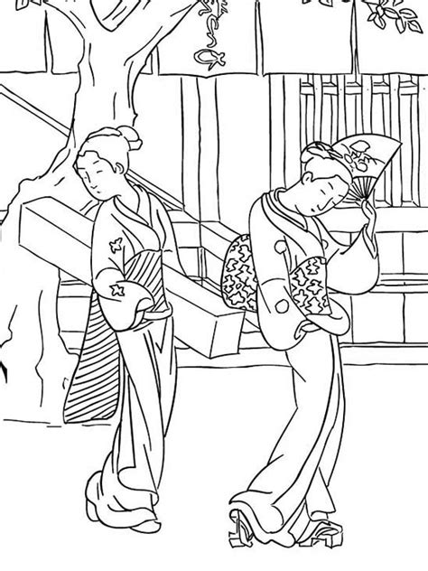Japanese Geisha Famous Painting Coloring Pages Batch With The Pearl Earring Coloring Page Printable