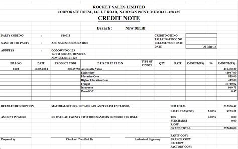 Microsoft Excel Credit Note Template Credit Note Format In Excel