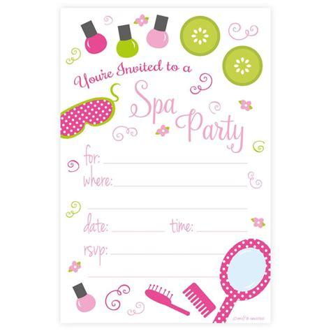 party invitation templates spa party invitations