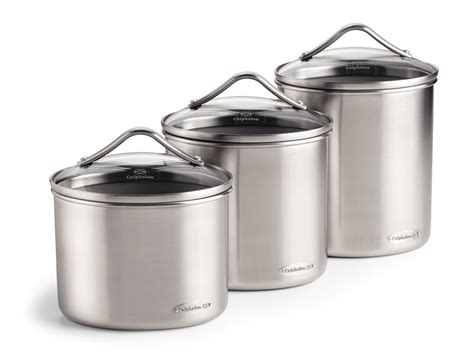 stainless steel canisters kitchen calphalon stainless steel oval canister set 3 cutlery and more
