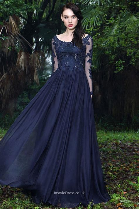 formal long sleeve lace prom dress navy lace chiffon boat neck sheer long sleeve a line long