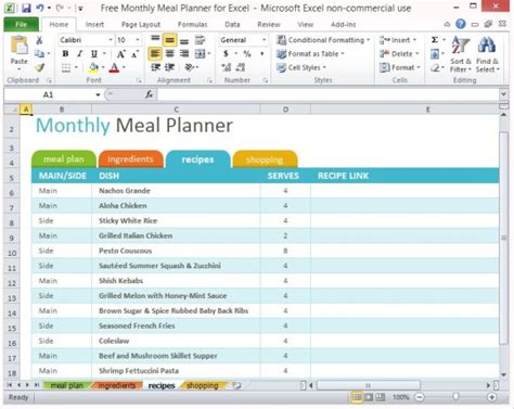 Free Monthly Meal Planner For Excel Free Grocery List Template Excel