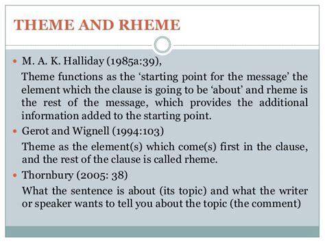 theme rheme exles discourse analysis and grammar