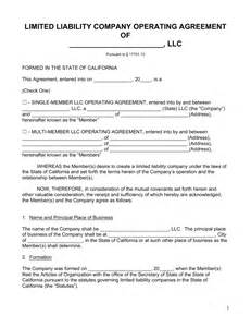 free california llc operating agreement forms pdf word