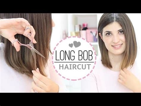 how to cut a bob shaped in a v at the nape long bob haircut youtube