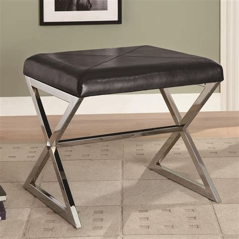 Ottoman Bench Seat Ottoman Bench With Black Upholstered Seat Metal Stretcher Ottomans