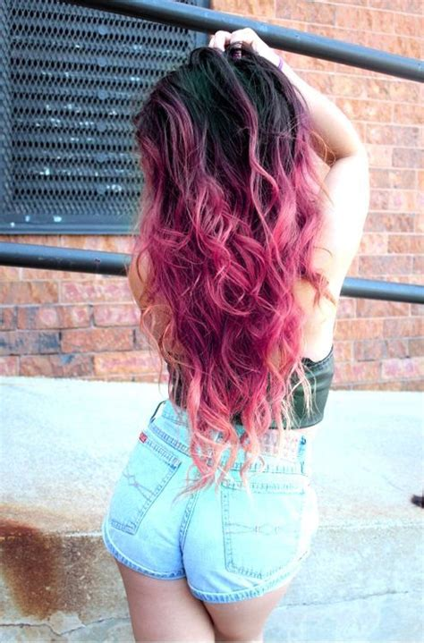 dip dyed hairstyles tumblr contraste de negro a fucsia amazing hair crazy color