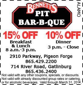 printable restaurant coupons for pigeon forge tn bennet s pit bar b que coupon things for my wall