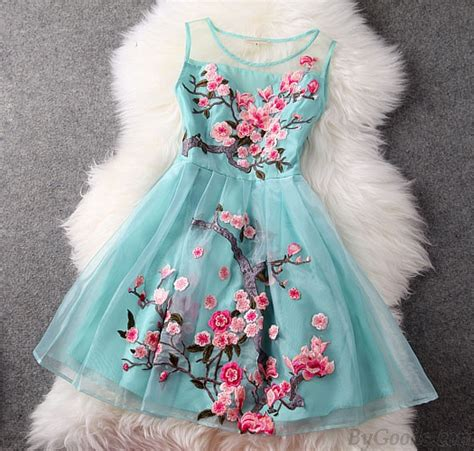 Handmade Garments - handmade embroidery flower organza dress fashion