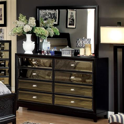 black chest of drawers with mirror furniture of america mendes 8 drawer black dresser with