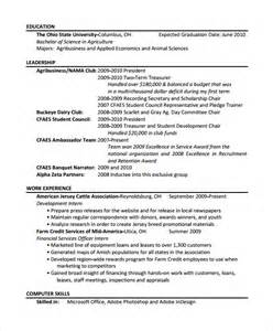 Uconn Resume Template by Sle Agriculture Resume 6 Documents In Pdf
