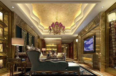 decorated homes interior luxurious gypsum ceiling decoration for villa living room