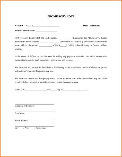 Basic Promissory Note Exle Mughals Promissory Loan Agreement Template