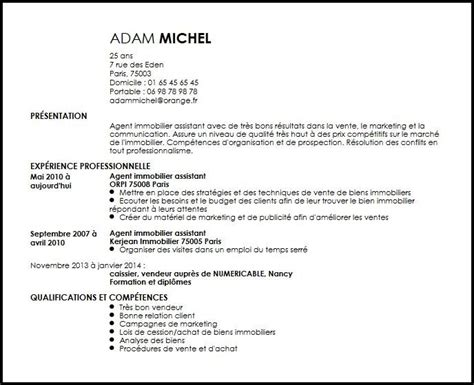 Exemple De Lettre De Motivation Immobilier Cv Immobilier Assistant Exemple Cv