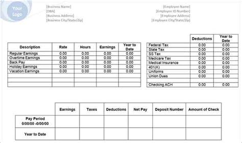 62 Free Pay Stub Templates Downloads Word Excel Pdf Doc Payroll Check Stub Template