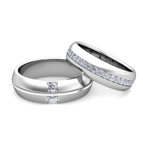my his hers matching wedding bands in platinum