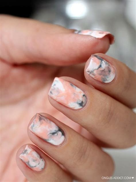 easy nail art marble paznokcie kwadratowe inspiracje fitandfashion pl