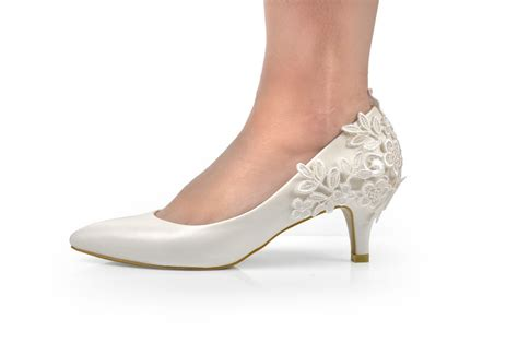 lace wedding pumps new ivory lace crochet mid heel wedding pumps bridal shoes