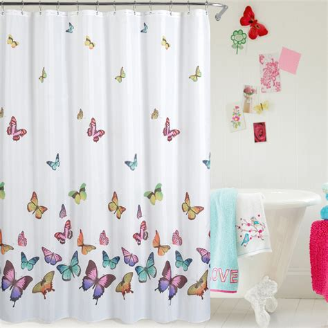 Butterfly Shower Curtain by White Panel Decorated With Butterfly Shower Curtains