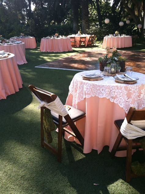 Peach wedding with lace table cloths   Weddings