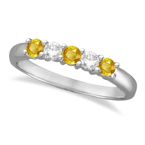 Yellow Saphire Golden 9 55ct five and yellow sapphire ring 14k white gold
