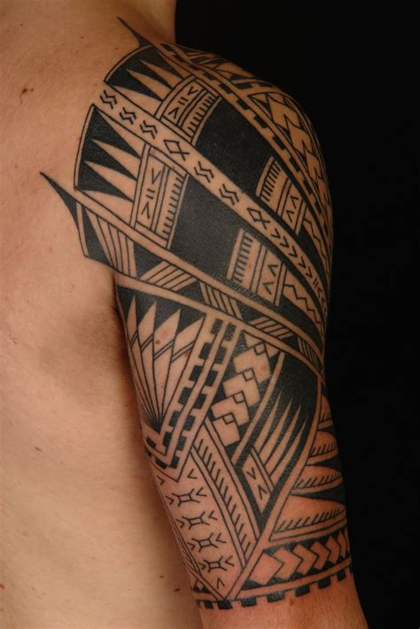polynesian tattoo designs sleeve shane tattoos polynesian half sleeve on vini