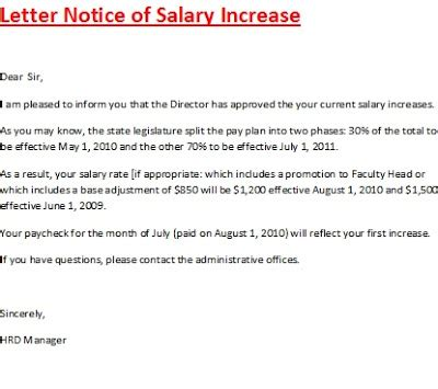 Raise Salary Letter Letter Notice Of Salary Increase