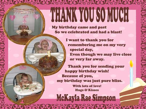 Thank You Card Wording Birthday Gift Simpsonized Crafts Birthday Thank You Wording