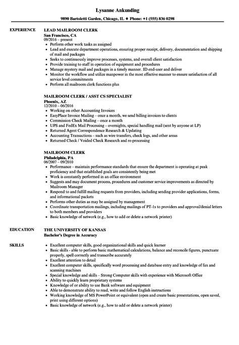 mail processing clerk sle resume sle resume truck driver
