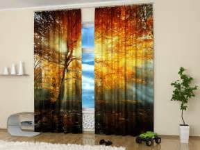 Fall Color Curtains Decor 15 Window Curtains With Colorful Prints Of Beautiful Flowers For Nature Themed Decor