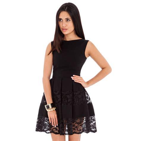 Black Lussile Katun Mini Dress black lace panel club skater dress pleated mini summer dresses vestido de