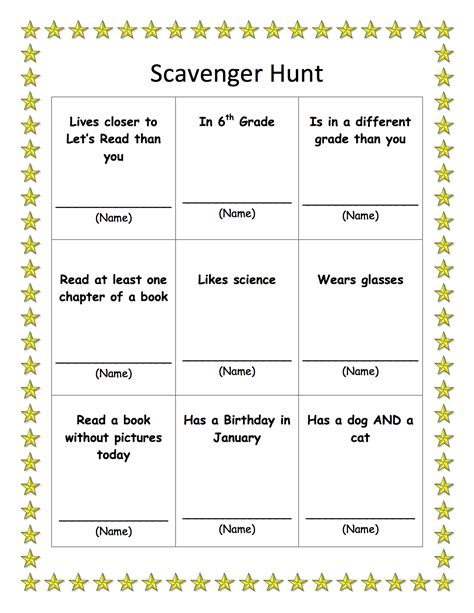 scavenger hunt template scavenger hunt let s read