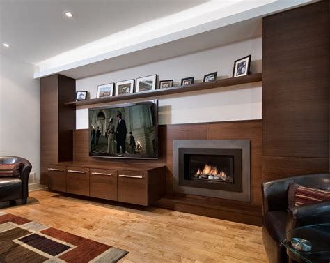 tv beside fireplace living room modern with stucco