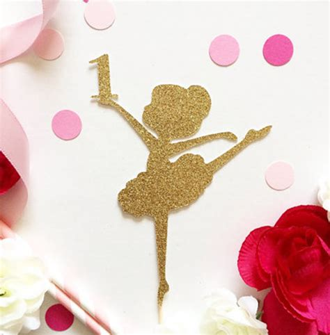 Cupcake Toppers Karakter Tema Foto 1 glitter gold ballet baby 1st birthday cupcake topper baby shower cake
