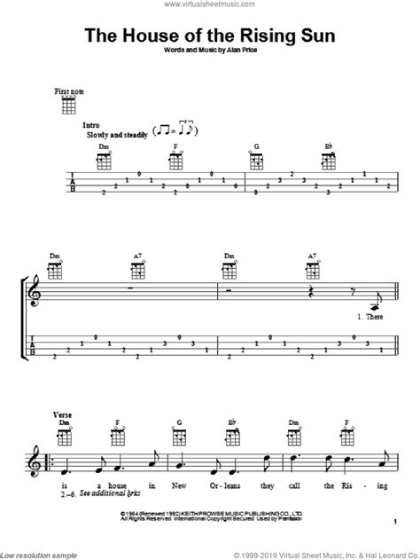 Animals - The House Of The Rising Sun sheet music for ukulele